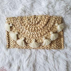 Rattan/Straw Weave Tassel Flap Clutch